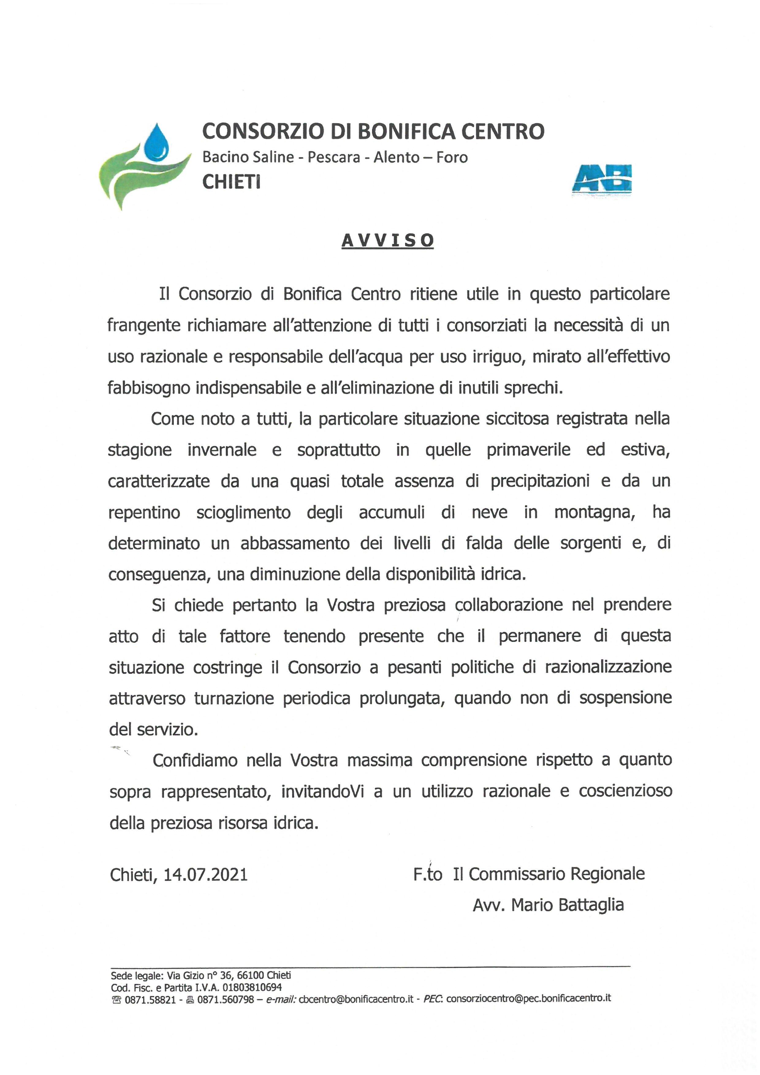 Consorzio di bonifica centro - Uso razionale acqua per irrigazione